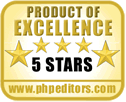 PhpEditors.com - Product of Excellence, 5 Star Rating